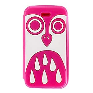 RC - White Owl Pattern Silicagel Clamshell Full Body Case for iPhone 4/4S , Rose