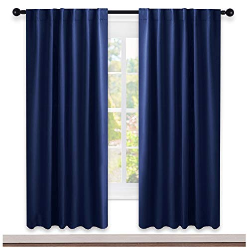 NICETOWN Blackout Curtain Blinds for Living Room - (Royal Navy Blue Color) 52 inch Wide by 72 inch Long, Two Panels Set, Insulated Room Darkening Window Drapes
