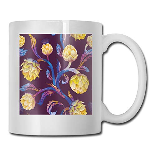Funny Ceramic Novelty Coffee Mug 11oz,Art Nouveau Style Arrangement With Vibrant Colored Vegetable Vegan,Unisex Who Tea Mugs Coffee Cups,Suitable for Office and Home
