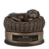 Perfect Memorials Custom Engraved Small Bronze Dog in Basket Cremation Urn