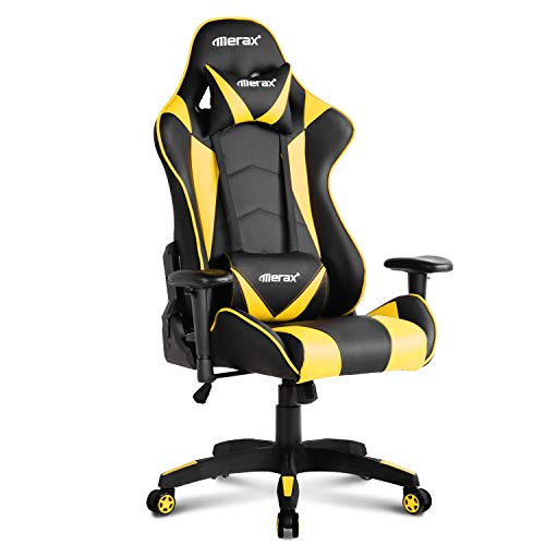 Merax Gaming Ergonomic High Back Swivel Racing Chair Executive Office Chair with Lumbar Support and Headrest (Yellow) Merax
