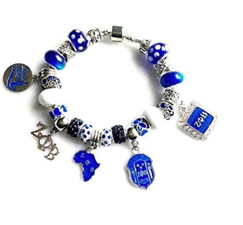 Figure Charm Bead Bracelet (Zeta Phi Beta Sorority Charm Bracelet 4 Sizes Available (8.66))