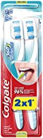 Colgate 360° Cepillo Dental 2 x 1, Cerda Media Varios Colores