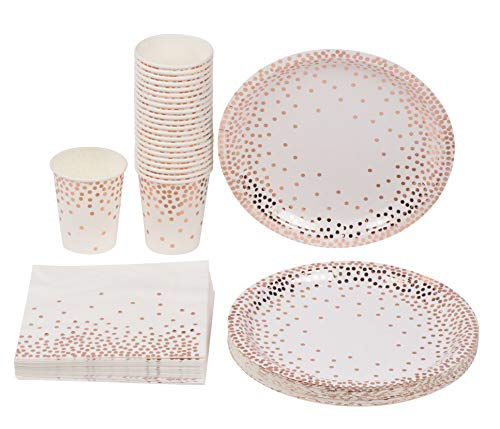Disposable Dinnerware Set - Serves 24 - Party Supplies, Rose Gold Foil Polka Dot Design, Includes Paper Plates, Napkins, Cups -