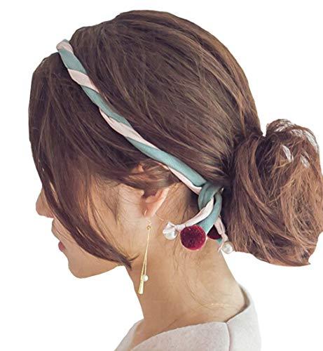 Womens Beaded Hair Hoop Headband Hair Band Accessories, Cute Simple Muticolor Running Sport Headbands (Blue+Black)