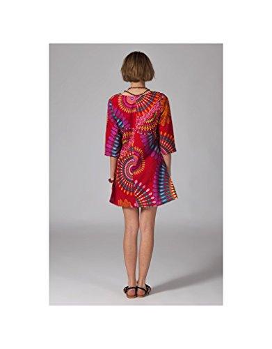Modeincoton - Larga túnica algodón 3/4 manga pequeña col V Modeincoton TUL256 Multicolor
