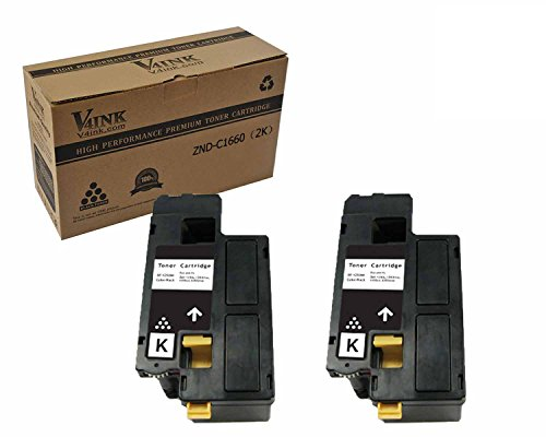 V4INK174; 2 Pack Replacement Toner Cartridge DELL C1660 (332-0399)(Black) compatible with DELL C1660 C1660W C1660cnw, yield of 1,250 pages