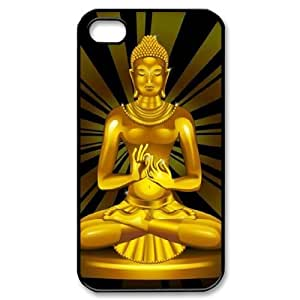 Personalized iPhone 4,4G,4S Cover Case, Golden Buddha quote DIY Cell Phone Case