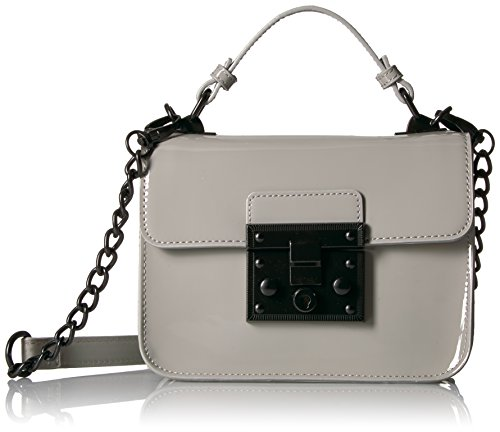 Lock Leather Closure Grey Flap Evie Faux Push Women Handbag Top Crossbody Handle Madden Patent With Steve Structured qnaT684Zg