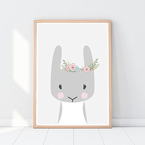Bunny print, rabbit, woodland animals, nursery poster, floral decor, animals for kids, cute baby animals, nursery art print, animal picture for nursery