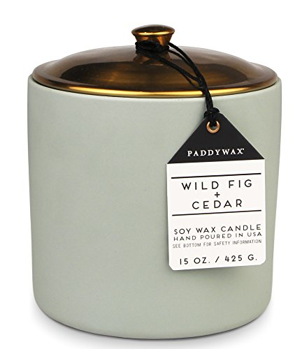 """Paddywax Candles Hygge Collection Scented Candle, 15-Ounce, Wild Fig + Cedar - WOODY FRAGRANCE: Notes of fig, cedar, and patchouli give this fragrance its woodiness KEEP COZY: """"Hygge"""" (pronounced 'hooga') is the Danish word for coziness; capture a feeling of warmth when you're hosting an intimate dinner party or enjoying a night on the couch,  matte moss green ceramic vessel with a copper lid is chic and simplistic CLEAN BURN: This circular 15-ounce container is filled with our signature soy-blend wax and Vetiver + Cardamom scent; Two cotton wicks help your candle burn beautifully- carefully trim the wicks before a new burn for a contained flame and even burn - living-room-decor, living-room, candles - 41hN3RI000L -"""