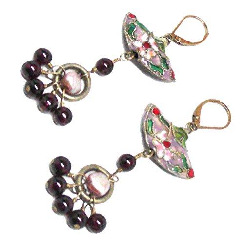 - Mauve Cloisonne Fan Garnet Cluster Drop Gold-filled OOAK Chandelier Earrings