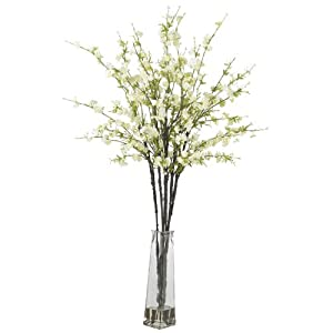 Nearly Natural 1193-WH Cherry Blossoms with Vase Silk Flower Arrangement White 29
