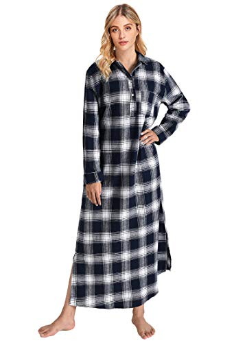 - Latuza Women's Plaid Flannel Nightgowns Full Length Sleep Shirts S Navy