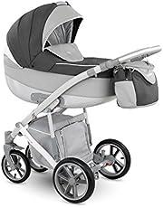 Cochecito para bebés de la marca Lux4Kids. 3 en 1, para su uso todo el año. Bañera, asiento y silla para bebé blanco Grau-Anthrazit-Weiss Talla:3in1 Set +Isofix;Wollfußsack