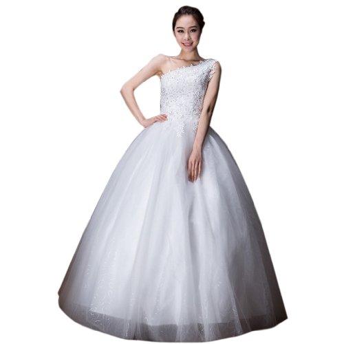 Brautkleider Bodenlang 1 Damen Schulter Tuell Pailletten Kleidungen Elfenbein Mit Dearta Applikation Ballkleid qw0BSwX