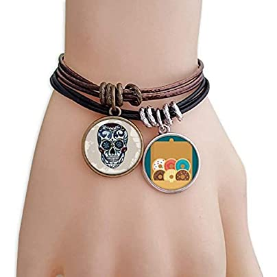 SeeParts Gray Skull Mexico National Culture Illustration Bracelet Rope Doughnut Wristband Estimated Price £9.99 -