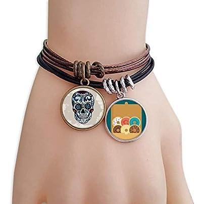 SeeParts Gray Skull Mexico National Culture Illustration Bracelet Rope Doughnut Wristband Estimated Price £9.99 -