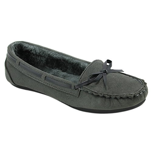 Solemate Women's Faux Suede Fur Lined Slip On Flat Loafer Moccasins (6, Gray)