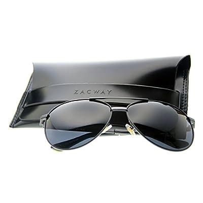 Zacway Premium Polarized Metal Aviator Sunglasses for Men Women w/ Revo Mirror Lens - UV400