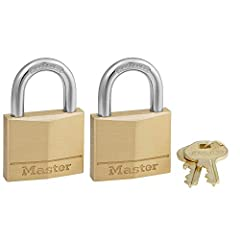 The Master Lock 140T Solid Brass Keyed Alike Padlocks feature a 1-9/16in (40mm) wide solid brass lock body that is strong, durable and resists corrosion. The 1/4in (6mm) diameter shackle is 7/8in (22mm) long and made of hardened steel, offeri...