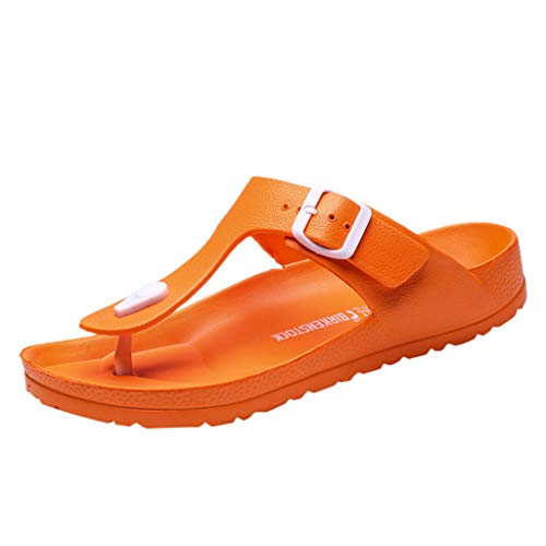Corriee Mens Thong Sandals Summer Slippers Indoor Outdoor Flat Shoes Beach Flip Flops Orange (Houses With Indoor Basketball Courts For Sale)