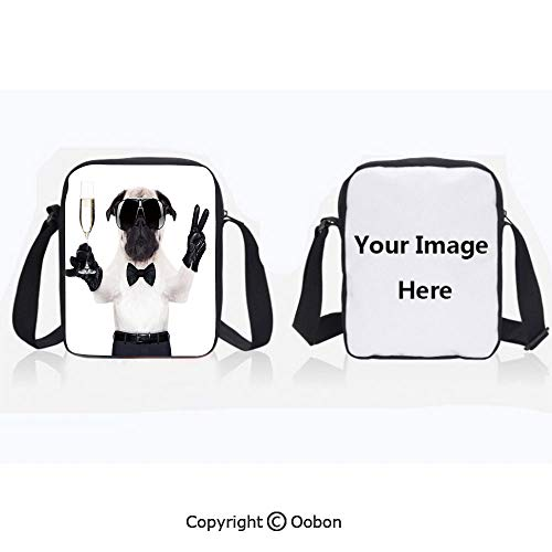 Multipurpose Crossbody Bag For Sports Unisex Teen Pug with Champagne Glass and Peace Sign Cool Looking Dog Celebration Animal Decorative Black White Cream Anti-Theft Travel Hiking Polyester Water Pro