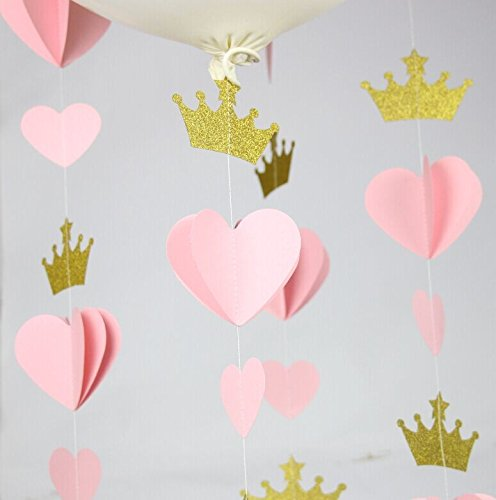 Since Pink Gold Crown Heart Paper Garland Wedding Valentines Decor Princess Prince Birthday 5 Feet - Set of 4 ( 5 Feet Each) Total 20 feet. (Pink)