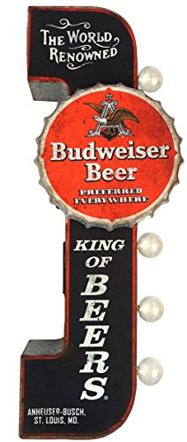 Budweiser Reproduction Vintage Advertising Sign - Battery Powered LED Lights, Double Sided Metal Wall Mounted - 25 x 10 x 4 inches