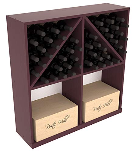 Wine Bin Diamond Rack Solid (Wine Racks America Ponderosa Pine Solid Case/Bottle Bin. Burgundy Stain + Satin Finish)