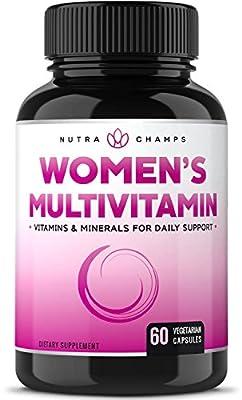 Women's Daily Multivitamin Supplement - Vegan Capsules with Biotin, Vitamins A B C D E K, Calcium, Zinc, Lutein, Magnesium - Natural, Non-GMO, Gluten Free Multimineral Multivitamin for Women
