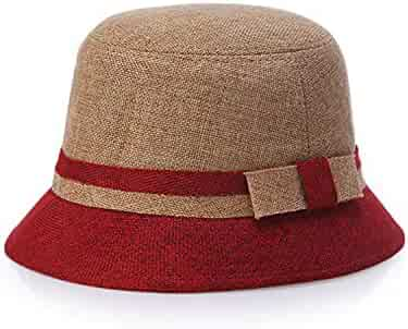 0bea91bc176593 Women Men Linen Summer Beach Sun Hat for Lady Elegant Fedora Hat