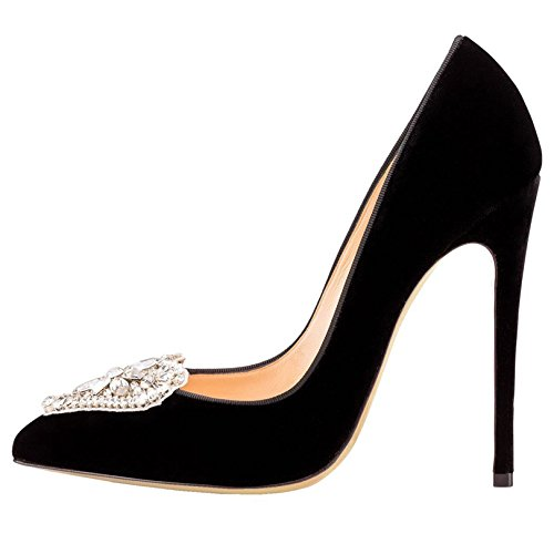 Arc-en-Ciel zapatos de las mujeres bombea el corazón en punta tacón alto Negro12cm