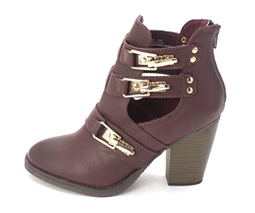 Justfab Just Fab Womens Zyree Closed Toe Ankle Fashion Boots  Wine  Size 9 0