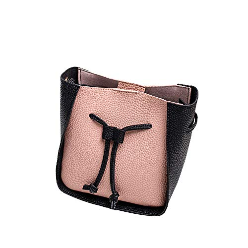 HOSOME Women Round Buckle Bag One Shoulder Contrast Color Small Crossbody Bag Pink