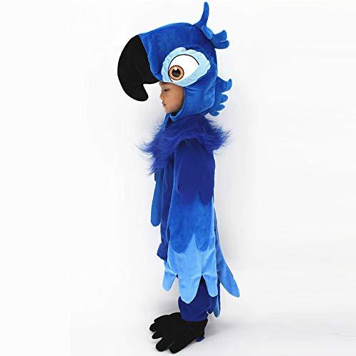 Child Adult Man Deluxe Parrot Rio Faux Fur Jumpsuit Costume Dress up Outfit (Child L) Blue -