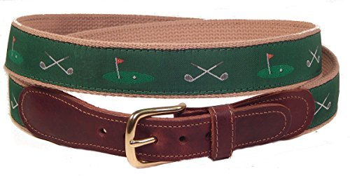 Preston Leather Golf Clubs 18th Hole Belt Green - Golfer Golf Belt