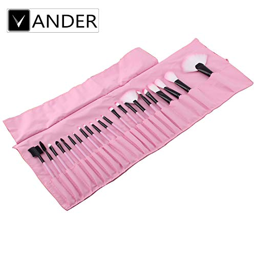 VANDER Makeup Brushes 24 Pieces Professional Makeup Brush Set Synthetic Kabuki Foundation Blending Blush Face Eyeliner Shadow Power Brushes Liquid Cream Concealer Lip Cosmetics Brushes Kit (Pink)