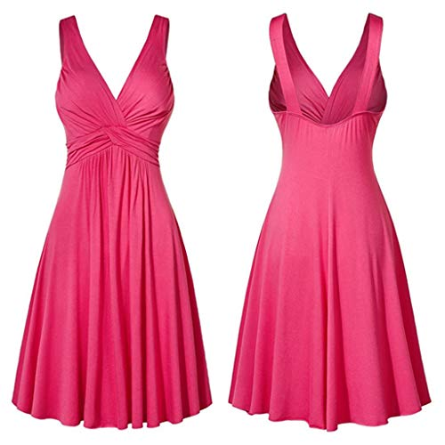Pleated Bateau Neck - HIRIRI Women's Large Size Sexy V-Neck Backless Sling Pleated Slim Flare Skirt A-Line Dress Large Swing Dress Pink