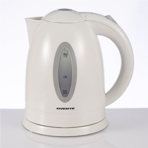 Review Ovente 1.7L BPA-Free Electric Kettle, Fast Heating Cordless Water Boiler with Auto Shut-Off and Boil-Dry Protection, LED Light Indicator, White (KP72W)