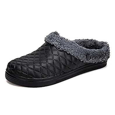 Amazon.com | BARKOR Fur Lined Slippers Winter Breathable