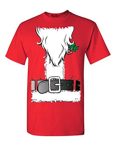 Shop4Ever Christmas Santa Beard Costume T-Shirt Large Red