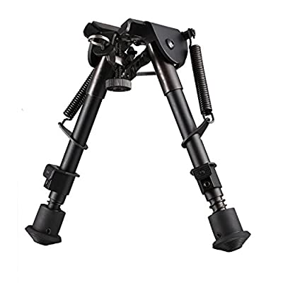 "Sun-king(TM) 6"" to 9"" Adjustable Handy Spring Return Sniper Hunting Tactical Rifle Bipod / Sniper Profile - Sling Swivel Mount, Accuracy - Enhancing Accessory for Your Rifle with Mount Weaver/ Picatinny style rail adaptor with sling stud"