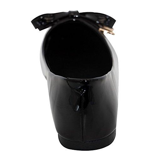 AalarDom Mujer Puntera Cuadrada Puntera Cuadrada Material Suave Sólido Plano Negro