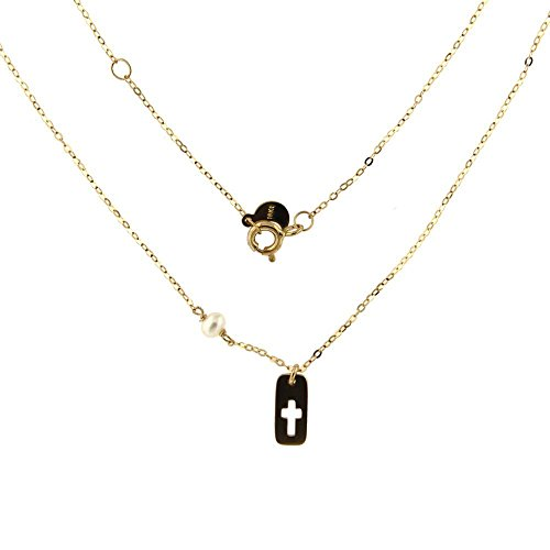 18K Yellow Gold Fix Cultivate Cultivated Pearl with Small Open Cross Plaque L 16 inches by Amalia (Image #1)