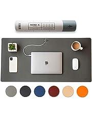 Nordik Leather Desk Mat Cable Organiser (Alaskan Grey 89 X 43 cm) Premium Extended Mouse Mat for Home Office Accessories - Felt Vegan Large Leather Desk Pad Protector & Desk Blotter Pads Decor