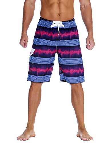 Nonwe Men's Swimwear Quick Dry Holiday Drawstring Striped Board Shorts Purple 34