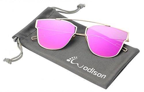 WODISON Street Fashion Metal Frame Reflective Mirrored Lenses Womens Sunglasses Purple - Sunglasses Hottest