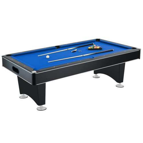 Hathaway Hustler 7'-8' Pool Table with Blue Felt, Internal Ball Return System, Easy Assembly, Pool Cues and Chalk