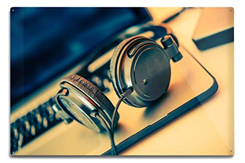 Lantern Press Headphones on Laptop Photography A-90930 (12x18 Aluminum Wall Sign, Metal Wall Decor Ready to Hang)